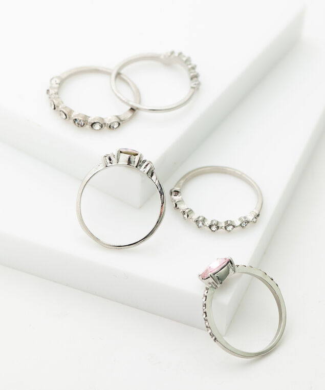 Crystal & Pearl Stacking Rings, Pink