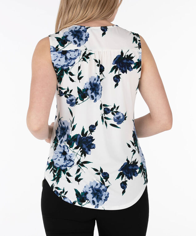Sleeveless Keyhole Pintuck Top, Pearl/Blue/Emerald, hi-res