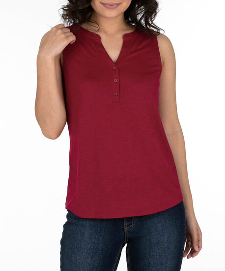 Sleeveless Henley Top, Sangria, hi-res