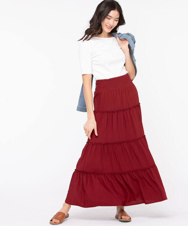 Smocked Waist Tiered Maxi Skirt, Chili Pepper, hi-res