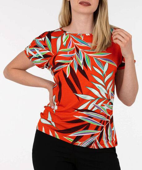 Button Detail Cold Shoulder Top, Red/Black/Green, hi-res