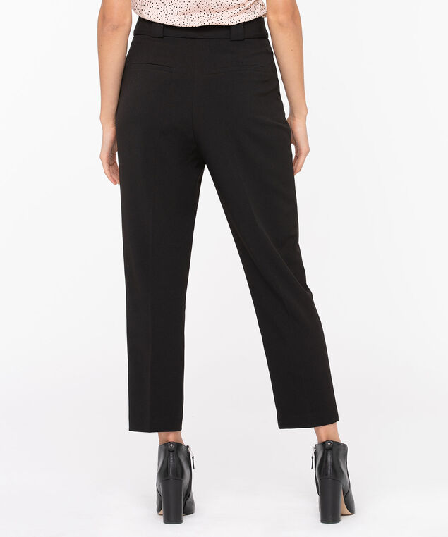 Black Tapered Crepe Pant, Black