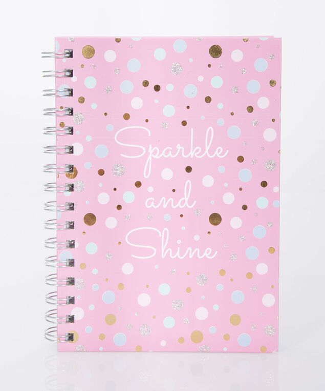 Sparkle & Shine Spiral Notebook, Cameo Pink/Gold, hi-res
