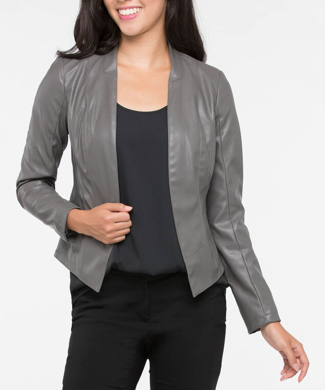 Faux Leather Stretchy Open Blazer, Grey, hi-res