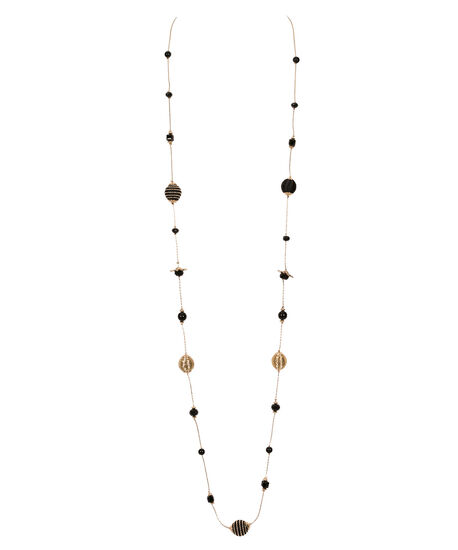Stationed Wrapped Bead Necklace, Black/Soft Gold, hi-res