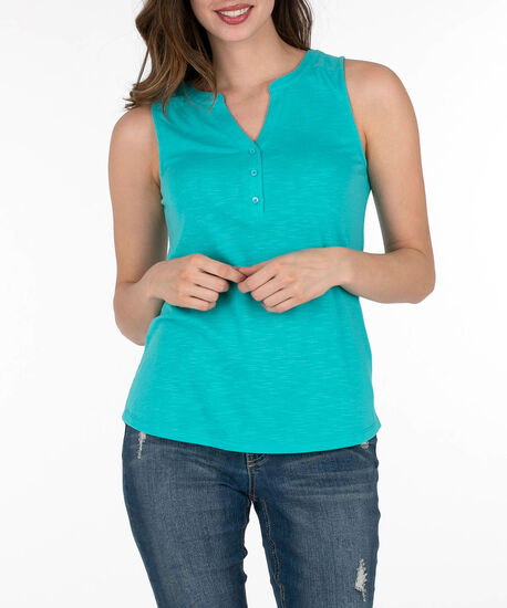Sleeveless Henley Tee, Bright Aqua, hi-res