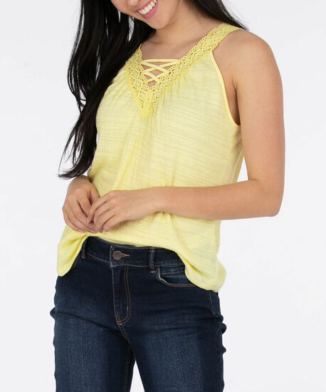 Sleeveless Crochet Trim Top, Yellow, hi-res