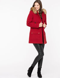 Red Hooded Duffle Coat