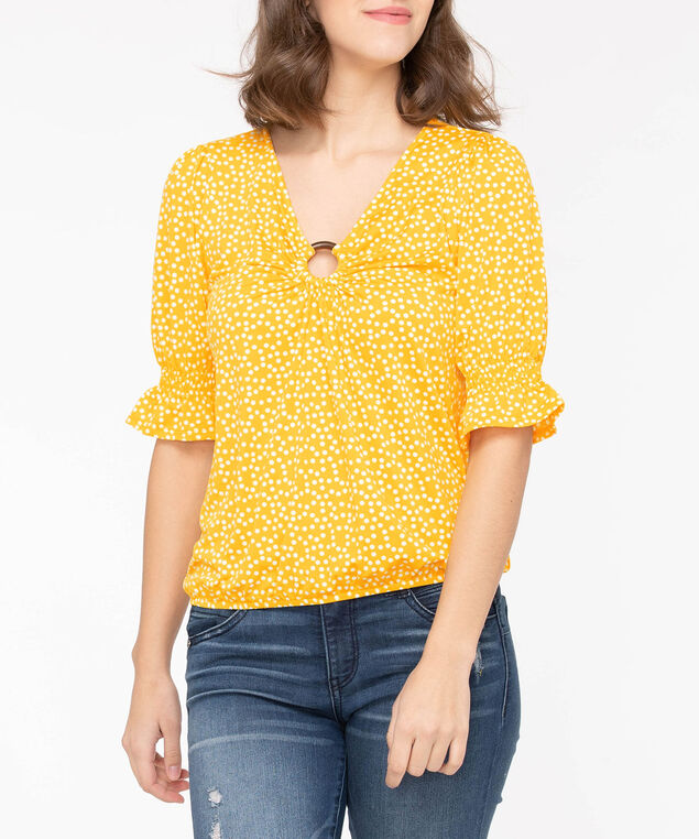 Flounce Sleeve Ring Front Top, Sunshine/Pearl, hi-res