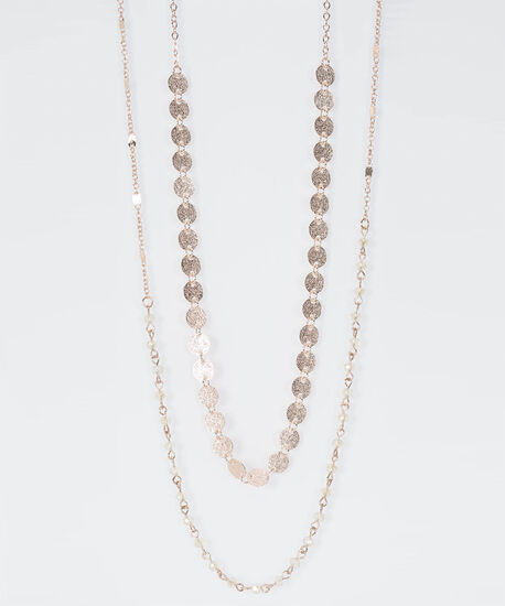 Rose Gold Seed Bead Necklace, Rose Gold, hi-res