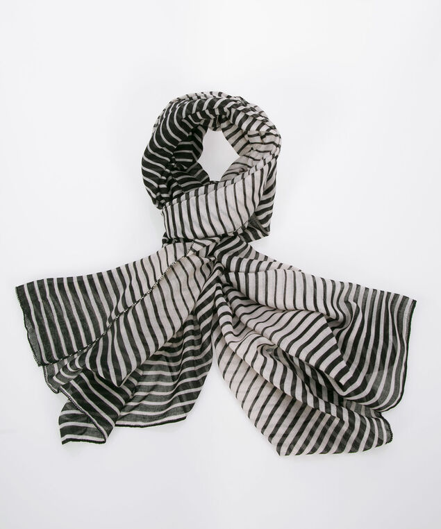 Striped Oblong Scarf, Black/Pearl, hi-res