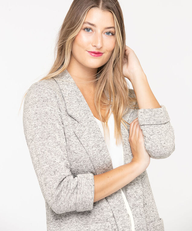 Cozy Notch Collar Open Blazer, Light Heather Grey, hi-res