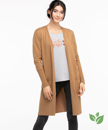EcoVero™ Ribbed Duster Cardigan, Tobacco Brown, hi-res