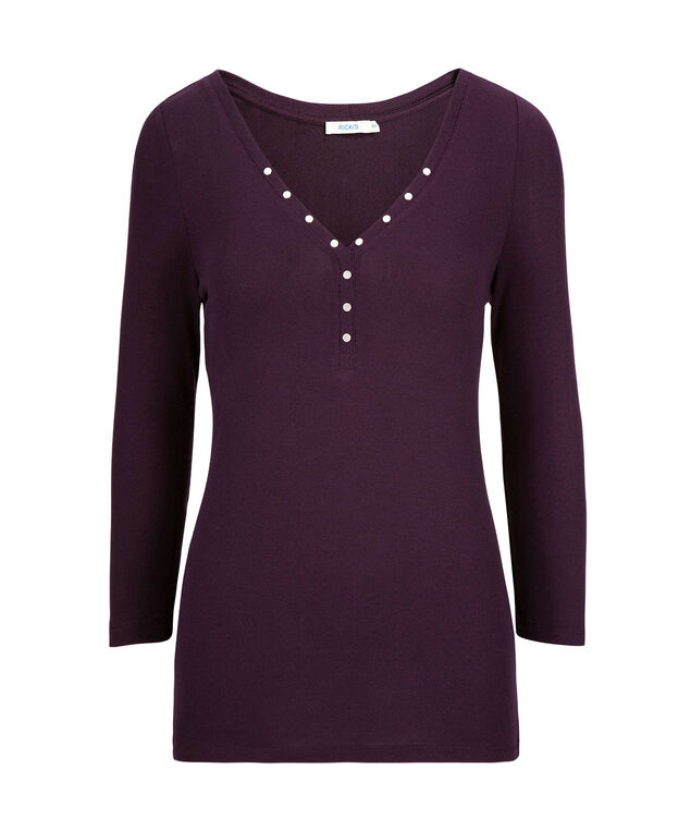 Studded Long Sleeve Henley Top, Blackberry, hi-res