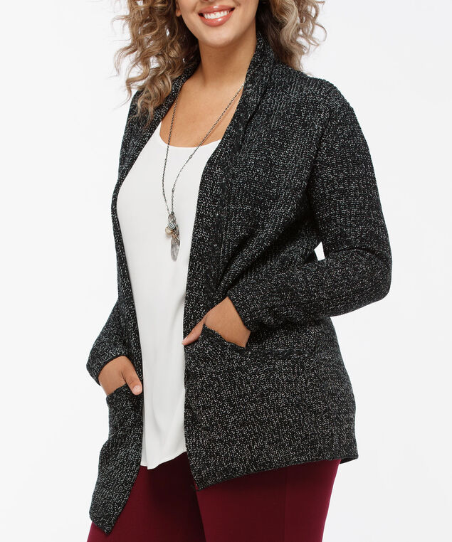 Ribbed Open Cardigan, Black Mix, hi-res