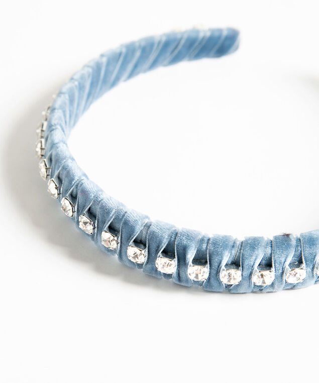 Velvet Wrapped Rhinestone Headband, Bijou Blue