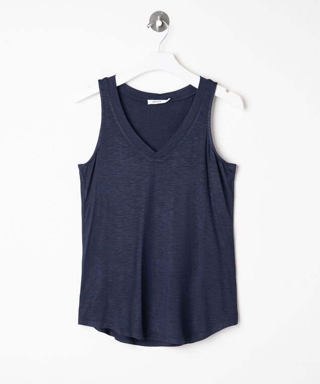 Sleeveless V-Neck Tank Top, Summer Navy, hi-res