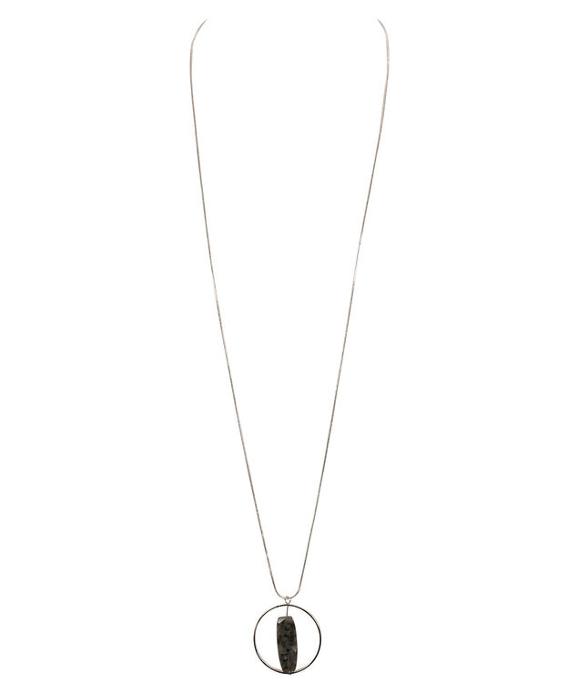 Stone & Circle Pendant Necklace, Grey/Rhodium, hi-res
