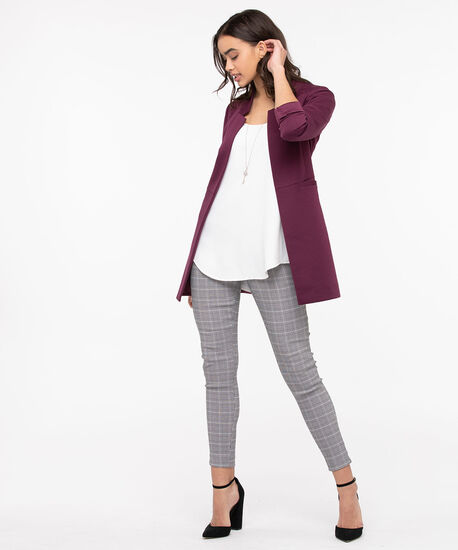 Inverted Notch Collar Long Blazer, Fig, hi-res