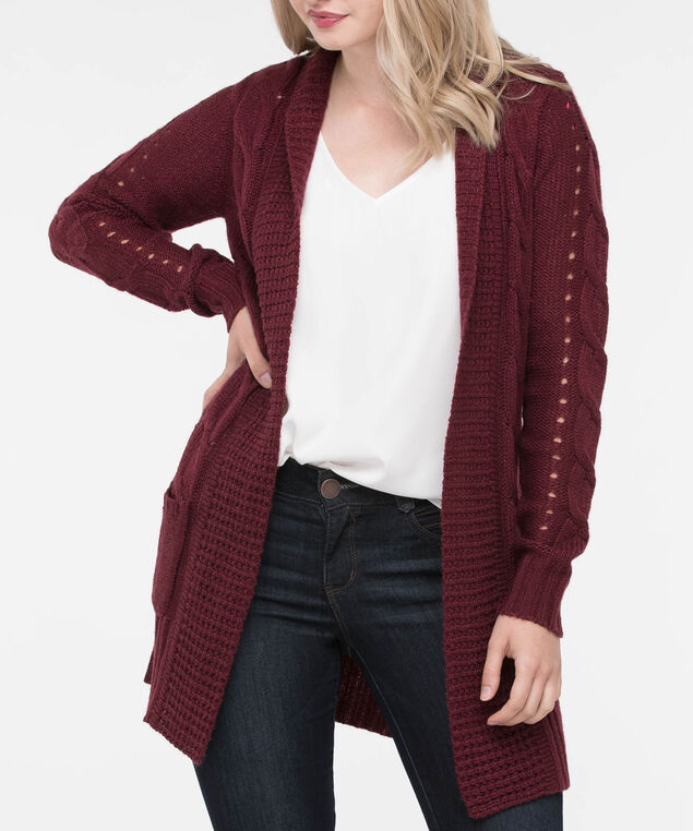 Pointelle Pocket Front Open Cardigan, Dark Rust, hi-res