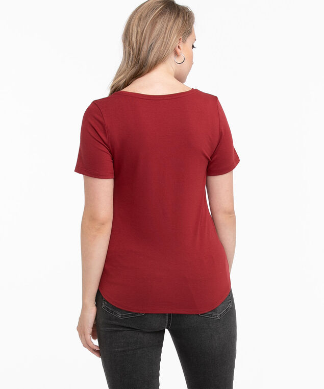 Scoop Neck Shirttail Graphic Tee, Wine/Silver Fav Colour
