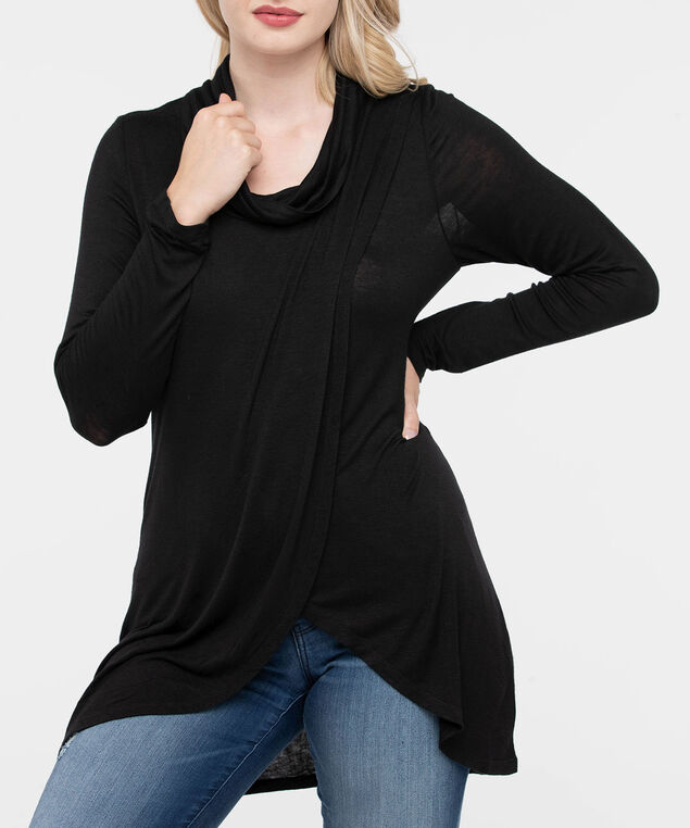 Cowl Neck Tulip Hem Top, Black, hi-res
