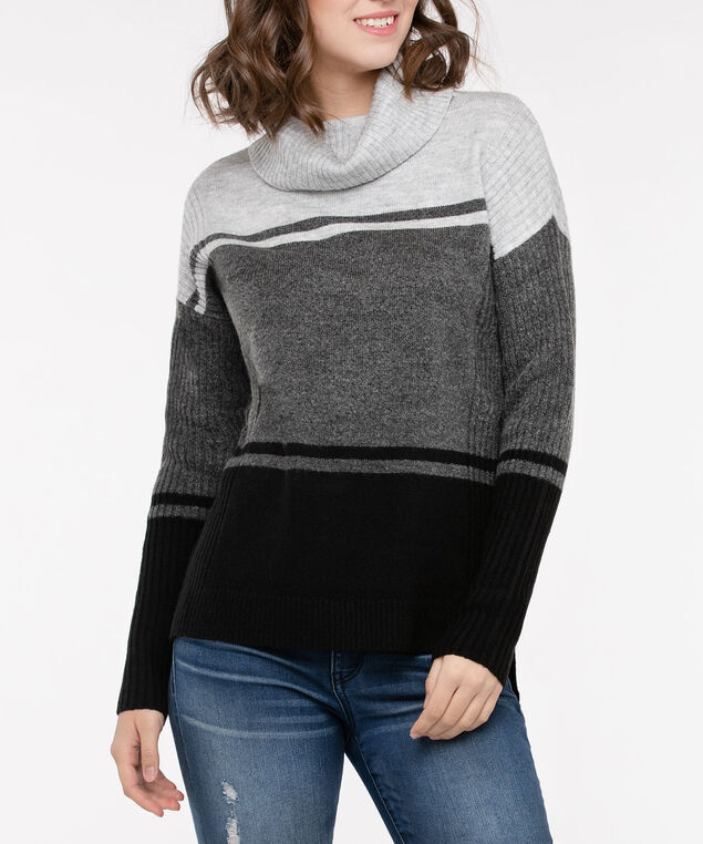 Ribbed Trim Cowl Neck Sweater, Light Heather Grey/ Mid Heather Grey/Bla, hi-res