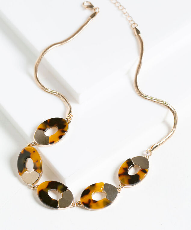 Tortoise & Metal Mini Statement Necklace, Brown/Black/Gold, hi-res