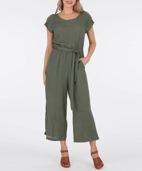 Cold Shoulder Tie Waist Jumpsuit, Light Sage, hi-res