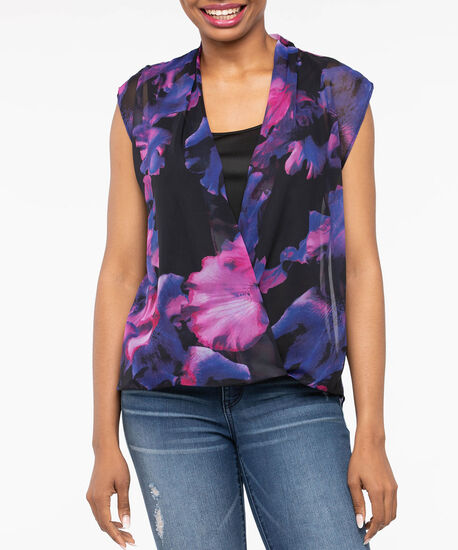 Sleeveless Bubble Crossover Overlay Top, Black/Violet/Purple, hi-res