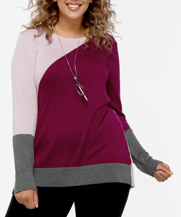 Asymetrical Colourblock Pullover Sweater, Soft Pink/Burgundy/Heather Grey, hi-res