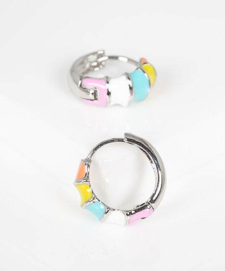 Rainbow Huggie Earring, Pink/Blue/Yellow/Rhodium, hi-res
