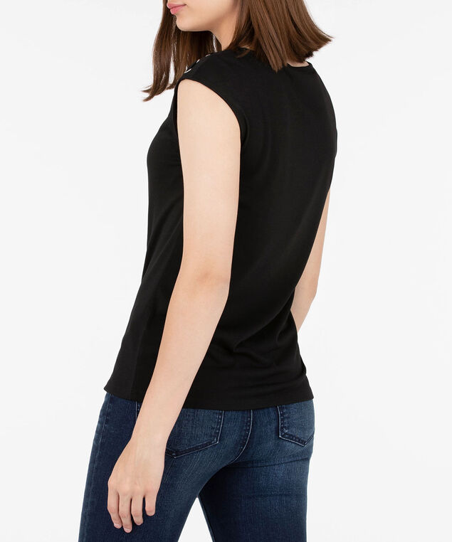 Lace Up Extended Sleeve Top, Black, hi-res