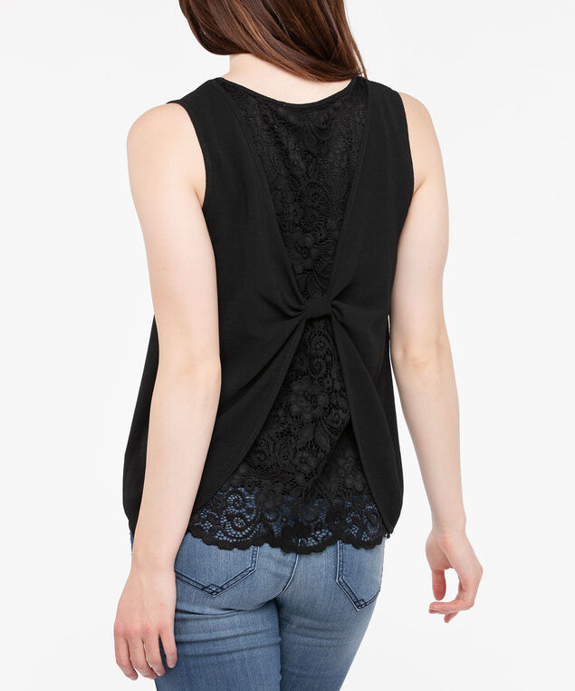 Sleeveless Pleated Bow Back Blouse, Black, hi-res
