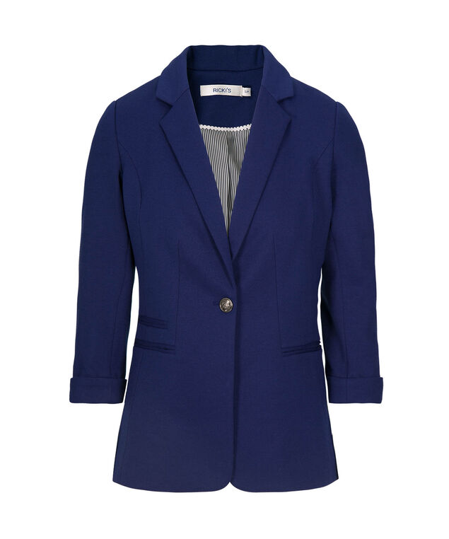Roll-Cuff Sleeve Boyfriend Blazer, Ink Blue, hi-res