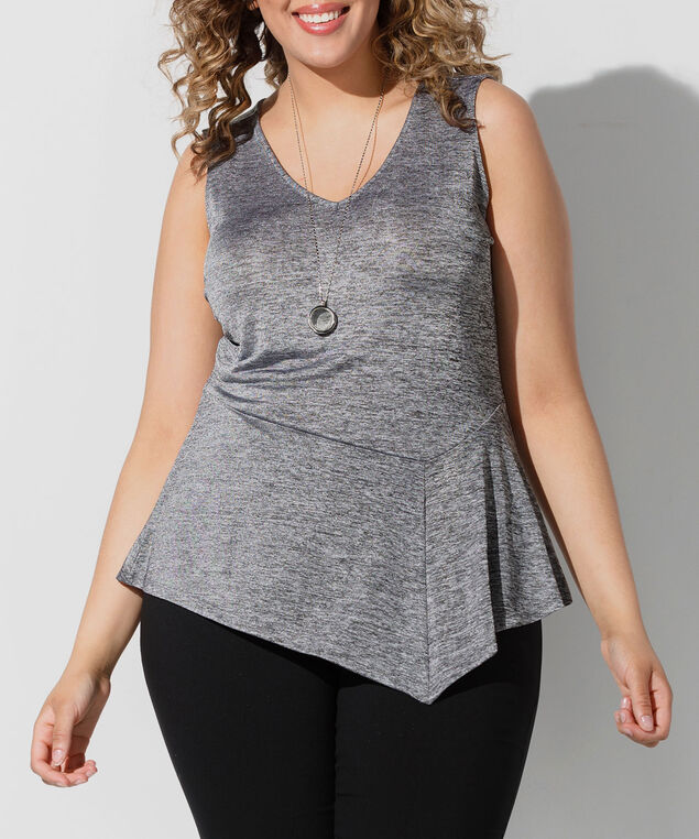 Sleeveless Asymetrical Peplum Hem Top, Silver Grey, hi-res