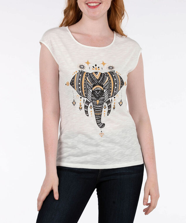 Elephant Graphic Extended Sleeve Top, Ivory/Gold/Black, hi-res