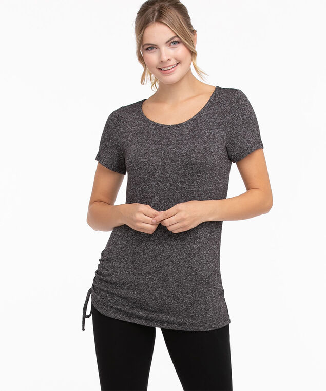 Side Ruched Hacci Tee, Black/White Mix