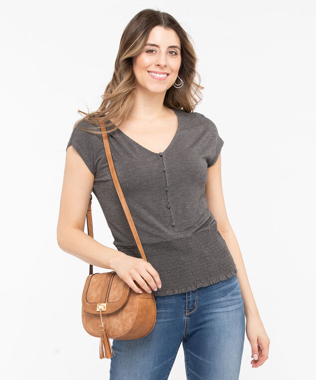 Soft Heathered Smocked Bottom Tee, Mid Heather Grey, hi-res