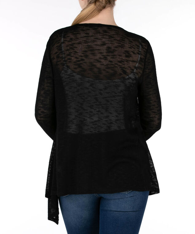 Open Stitch Slub Cardigan, Black, hi-res