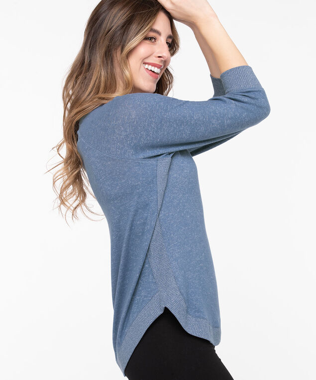 Lightweight Knit Rib Trim Pullover, Bijou Blue Mix, hi-res