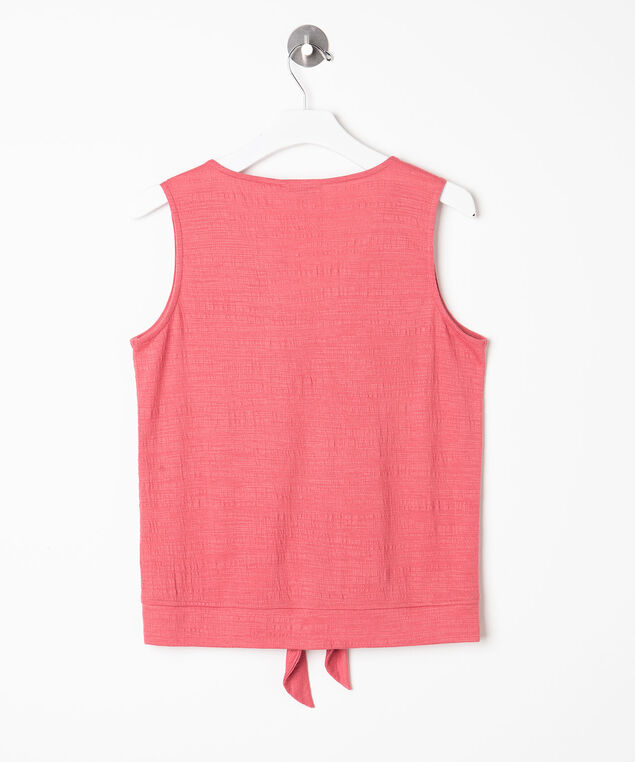 Sleeveless Tie Waist V-Neck Top, Strawberry, hi-res