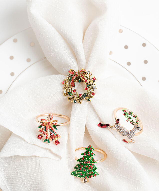 Christmas Napkin Ring 4-Pack, Gold/Red/Green