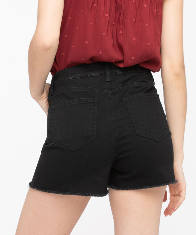 High Rise Fray Hem Short, Black, hi-res