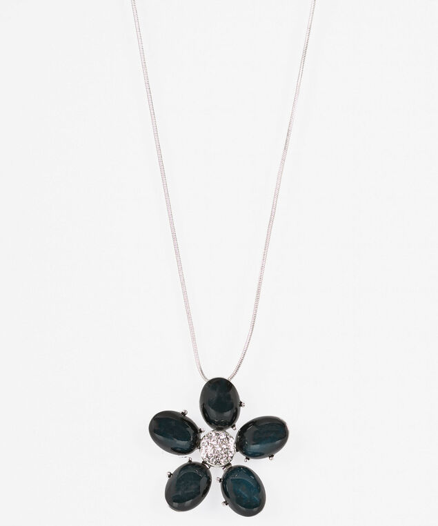 Stone Flower Pendant Necklace, Teal/Rhodium, hi-res
