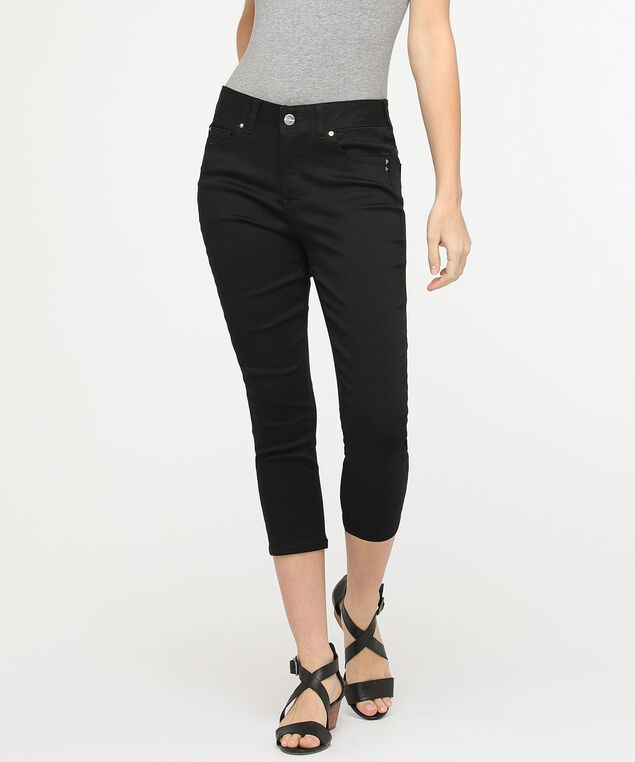 Fly Front Jegging Capri, Black, hi-res