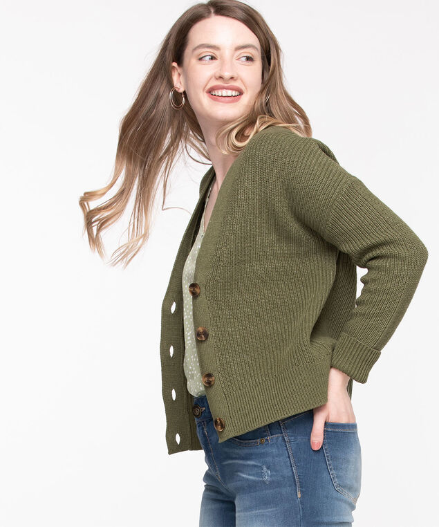 Ribbed Knit Button Front Cardigan, Forest Night