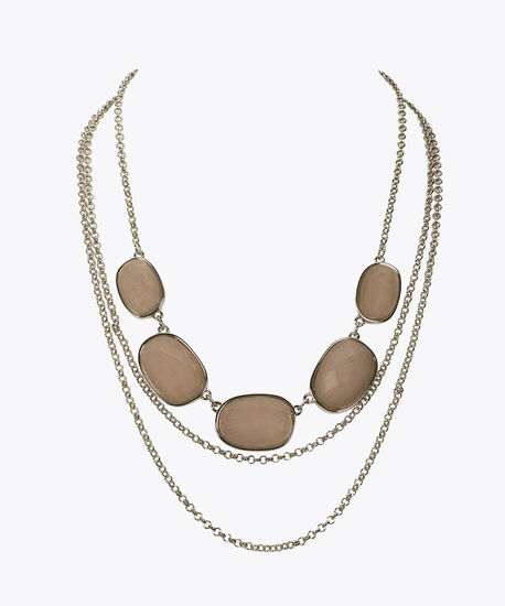 Faceted Stone Statement Necklace, Taupe, hi-res