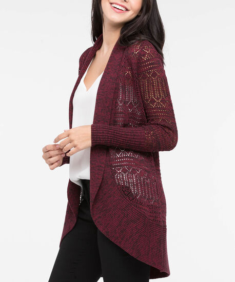 Cocoon Pointelle Open Front Cardigan, Burgundy Mix, hi-res