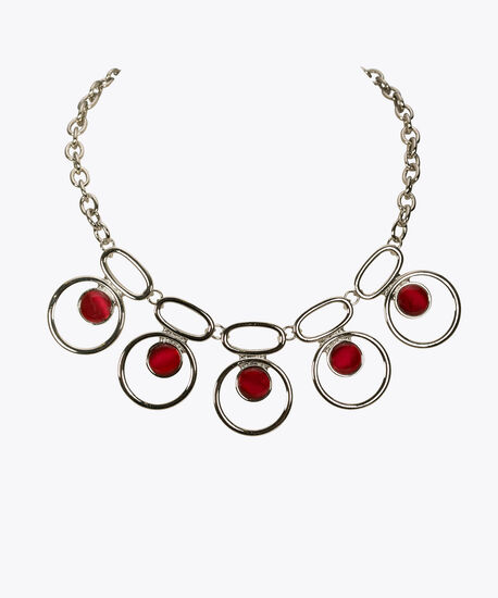 Silver Ring & Cateye Statement Necklace, Poppy, hi-res